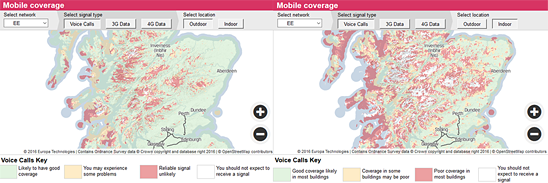 ee coverage in scotland according to ofcom