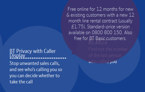 BT caller display prices